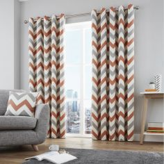 Chevron Fully Lined Eyelet Curtains - Terracotta Orange