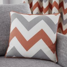 Chevron Print Cushion Cover - Terracotta Orange