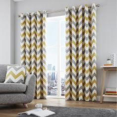 Chevron Fully Lined Eyelet Curtains - Ochre Yellow