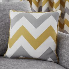 Chevron Print Cushion Cover - Ochre Yellow