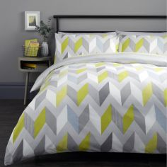 Grafix Geometric Duvet Cover Set - Grey & Green