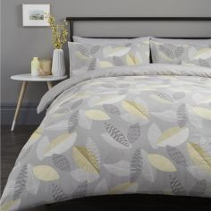 Tazio Leaves Duvet Cover Set - Grey