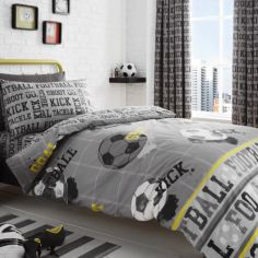 Football Theme Fully Lined Tape Top Curtains - Grey
