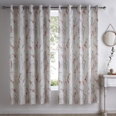 Celine Floral Fully Lined Eyelet Curtains - Natural