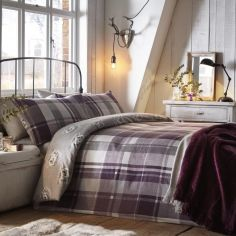 Colville Check Brushed Cotton Duvet Cover Set - Plum Purple
