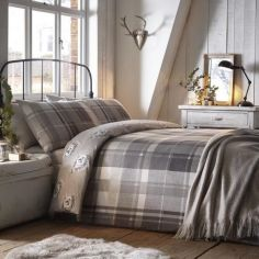 Colville Check Brushed Cotton Duvet Cover Set - Grey