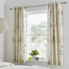 Dionne Floral Fully Lined Eyelet Curtains - Multi