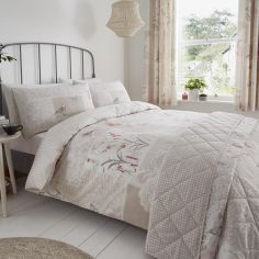 Dionne Floral Patchwork Duvet Cover Set - Natural