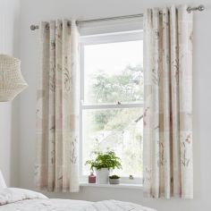 Dionne Floral Fully Lined Eyelet Curtains - Natural