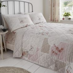 Dionne Floral Patchwork Quilted Bedspread - Natural