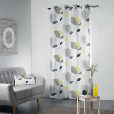 Mylae Floral Unlined Eyelet Curtain Panel - Grey & Yellow