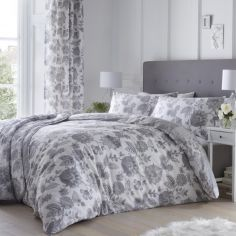Marinelli Floral Duvet Cover Set - Grey