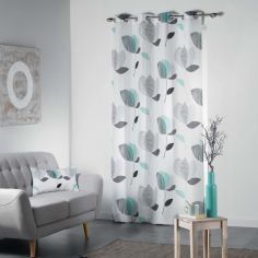 Mylae Floral Unlined Eyelet Curtain Panel - Grey & Mint Blue