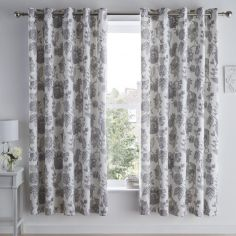 Marinelli Floral Fully Lined Eyelet Curtains - Grey