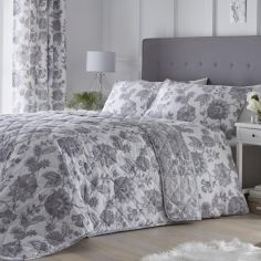 Marinelli Floral Quilted Bedspread - Grey