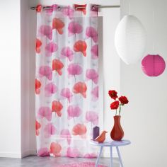 Natae Vibrant Floral Eyelet Voile Curtain Panel - Red & Pink