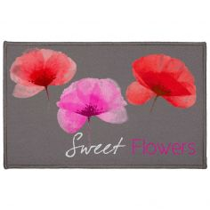 Natae Sweet Flowers Rectangular Door Mat - Grey, Red, Pink