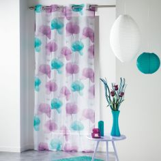 Natae Vibrant Floral Eyelet Voile Curtain Panel - Blue & Purple