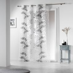 Naturiance Floral Eyelet Voile Curtain Panel - Grey