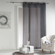 New Wave Chambray Eyelet Voile Curtain Panel - Charcoal Grey