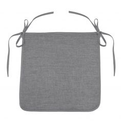 Chambray Newton Plain Tie On Chair Seat Pad - Grey