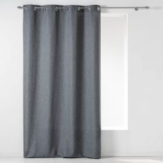 Chambray Newton Plain Unlined Eyelet Curtain Panel - Charcoal Grey