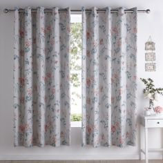 Marldon Floral Fully Lined Eyelet Curtains - Grey