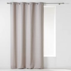 Chambray Newton Plain Unlined Eyelet Curtain Panel - Beige Natural