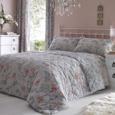 Marldon Floral Quilted Bedspread - Grey