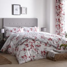 Suki Floral Duvet Cover Set - Red