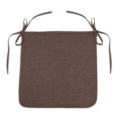 Chambray Newton Plain Tie On Chair Seat Pad - Brown