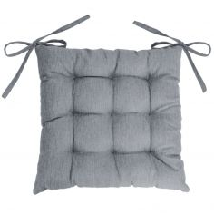 Chambray Newton Quilted Chair Seat Pad - Grey