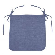 Chambray Newton Plain Tie On Chair Seat Pad - Blue