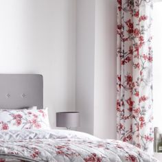 Suki Floral Fully Lined Eyelet Curtains - Red