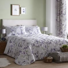 Suki Floral Quilted Bedspread - Lilac Purple