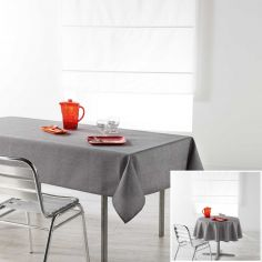 Chambray Newton Plain Linen Look Tablecloth - Charcoal Grey