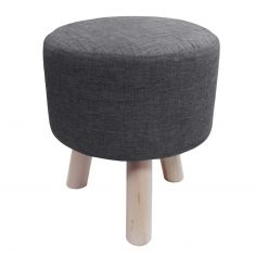 Chambray Newton Plain Footstool Rest - Charcoal Grey