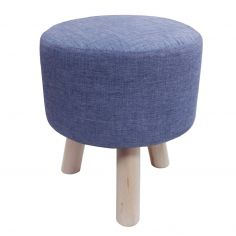 Chambray Newton Plain Footstool Rest - Blue