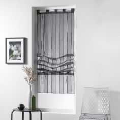 Nuage Striped Tie Up Voile Blind with Tab Top - Charcoal Grey