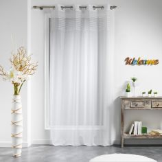 Olonne Striped Top Eyelet Voile Curtain Panel - White