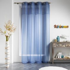 Olonne Striped Top Eyelet Voile Curtain Panel - Blue