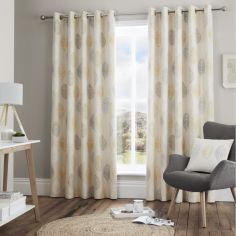 Skandi Leaf Fully Lined Eyelet Curtains - Ochre Yellow