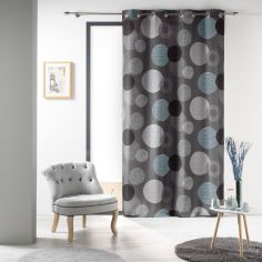Oxana Circles Unlined Eyelet Curtain Panel - Grey Multi