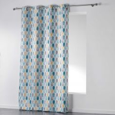 Palpito Geometric Unlined Eyelet Curtain Panel - White, Blue, Yellow