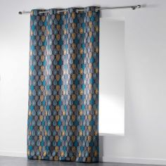 Palpito Geometric Unlined Eyelet Curtain Panel - Charcoal Grey, Blue, Yellow