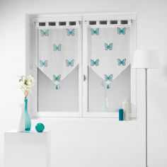 Papilu Tasselled Voile Blind Pair with Tab Top - Blue