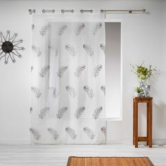 Douce Feather Embroidered Eyelet Voile Curtain Panel - Grey