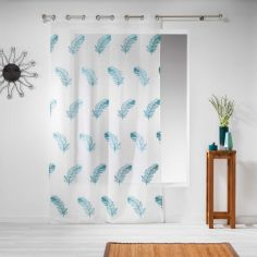 Douce Feather Embroidered Eyelet Voile Curtain Panel - Blue