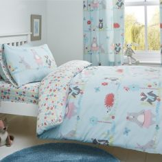 Woodland Fox Kids Fully Lined Tape Top Curtains - Duck Egg Blue