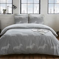 Newsprint Dudley Duvet Cover Set - Grey